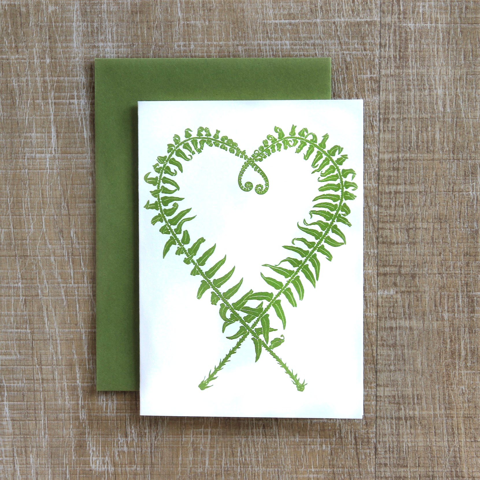 6 Sword Fern Heart Notecards in Fern