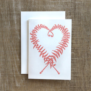 Sword Fern Heart Notecards in Blush