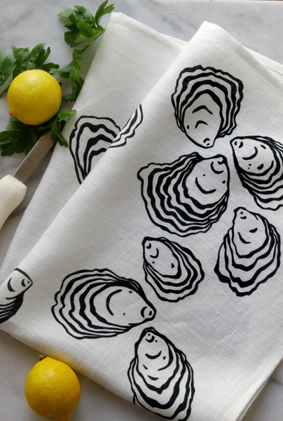 Oyster Kitchen Towel in Black on White Linen