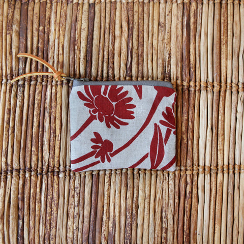 "4"" Pouch - Red Daisy on Flax"