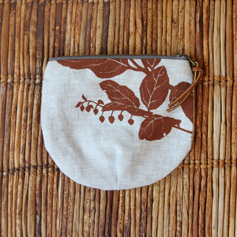 "5"" Pouch - Salal in Brown on Flax"