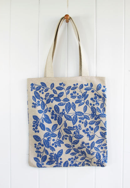 Simple Linen Bag - Blueberry in Blue
