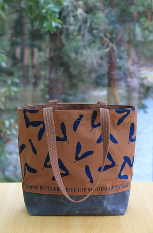 Brown Canvas Tote with Blue Samaras