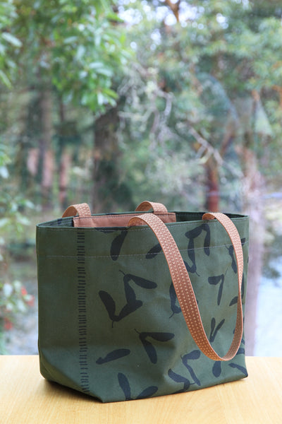 Loden Canvas Shopping Tote with Deep Green Samaras