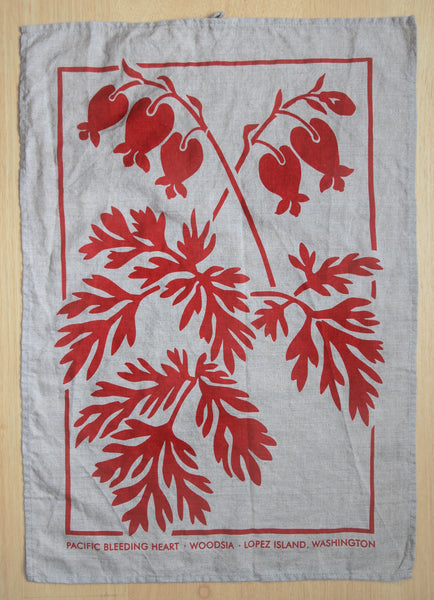 Bleeding Heart Kitchen Towel in Coral on Natural Linen
