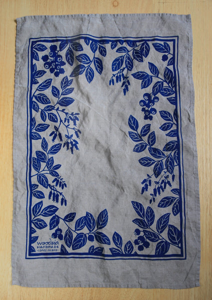 Blueberry Kitchen Towel in Blue on Natural Linen