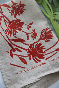Wild Daisy Kitchen Towel in Red on Natural Linen