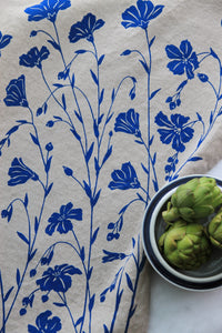Flax Kitchen Towel in Flax Blue on Natural Linen