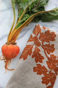 Garry Oak Kitchen Towel in Ochre on Natural Linen