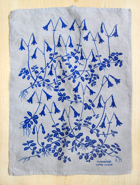 Twinflower Kitchen Towel in Blue in Natural Linen