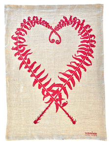 Sword Fern Kitchen Towel in Pink on Natural Linen