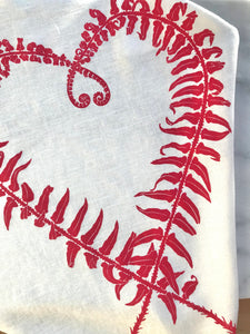 Sword Fern Kitchen Towel in Pink on White Linen