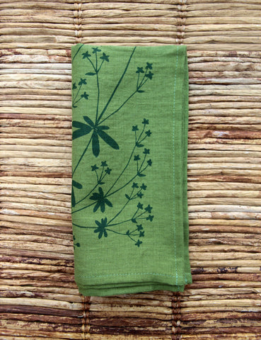 Bedstraw Napkin - Green Linen - Hunter Green Ink