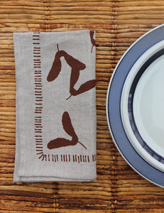Samara Napkin - Natural Flax Linen - Chestnut Ink