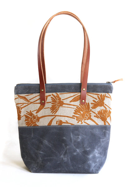 Wild Daisy Tote with Leather Handles