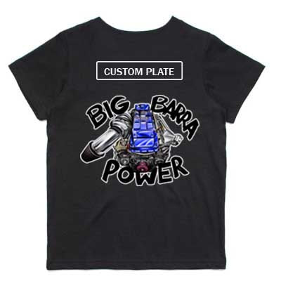 Blue Big Barra power kids tee
