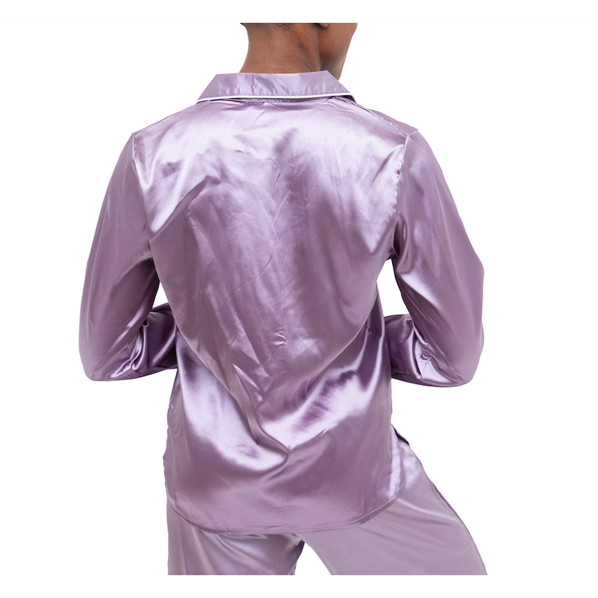 Be Wicked Adeline Lilac Satin Longsleeve Top - Cherry Blossom Intimates