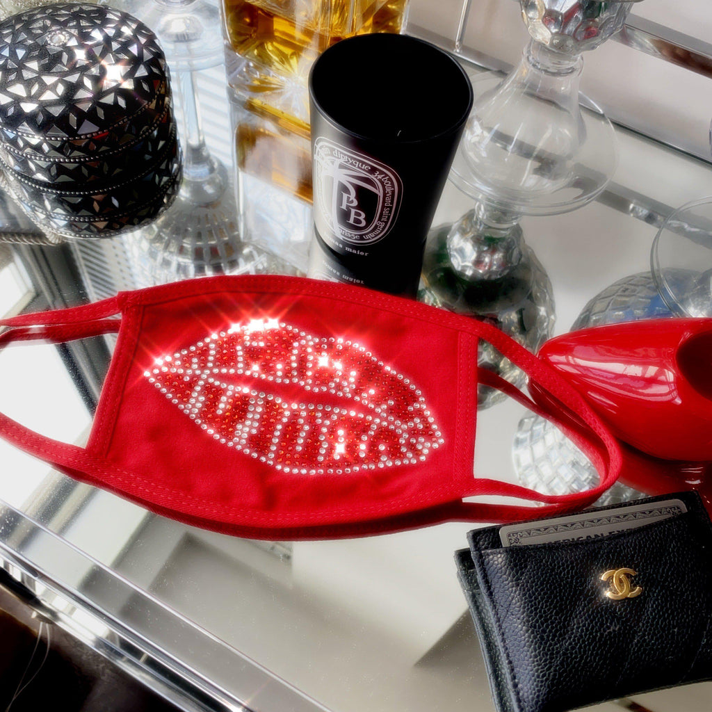 For Kisses Jeweled Face Mask Red
