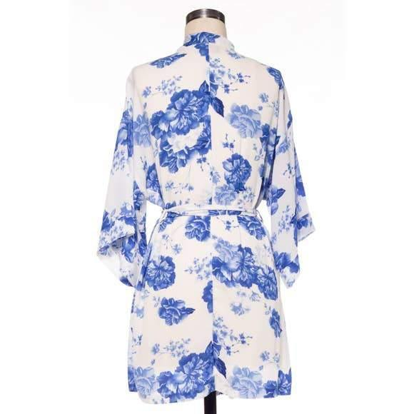 Peonies Silky Robe Blue - Cherry Blossom Intimates
