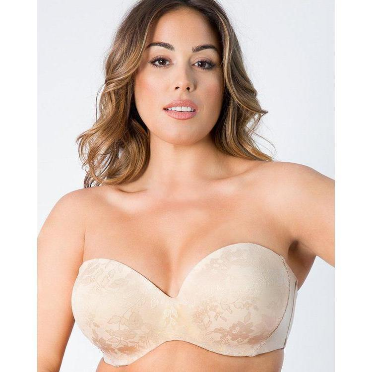 Curvy Couture Strapless Sensation Lace Bra Beige - Cherry Blossom Intimates
