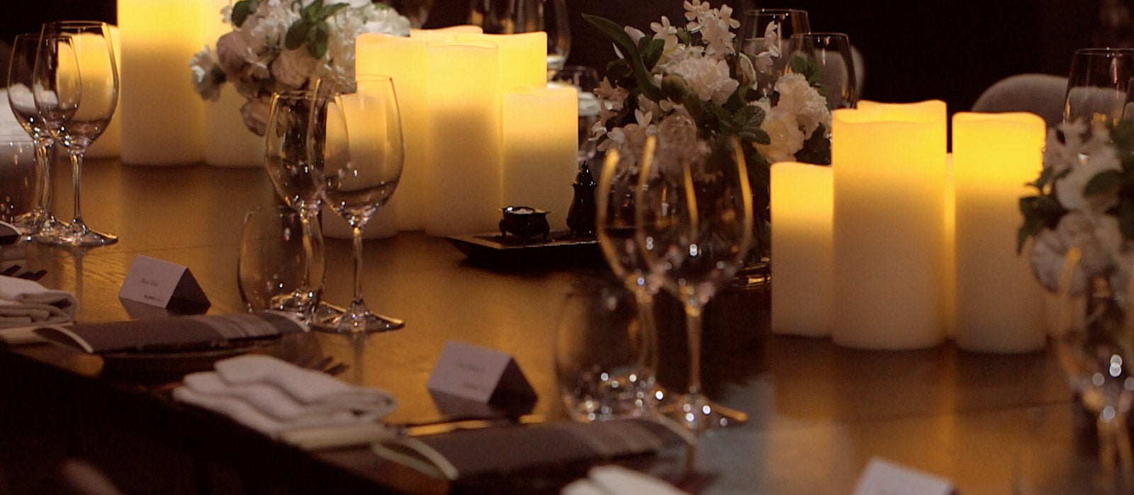 Enjoy Lighting flameless candles create the ambience at any event.