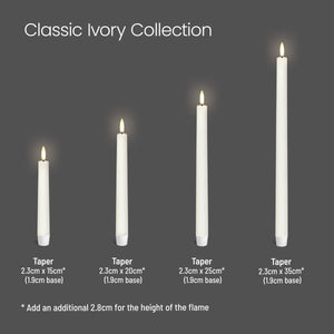 UYUNI LIGHTING Collection - Classic Ivory Smooth Wax Small Taper Remote Enabled - Pack of 2