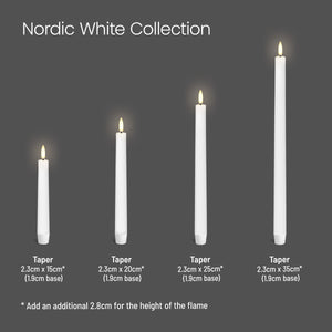 UYUNI LIGHTING Collection - Nordic White Smooth Wax Small Taper Remote Enabled - Pack of 2