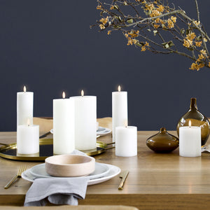 Beautiful Uyuni Pillar Candles on dining table