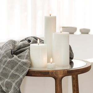 UYUNI LIGHTING Collection - Nordic White Smooth Wax Medium Wide Pillar Remote Enabled