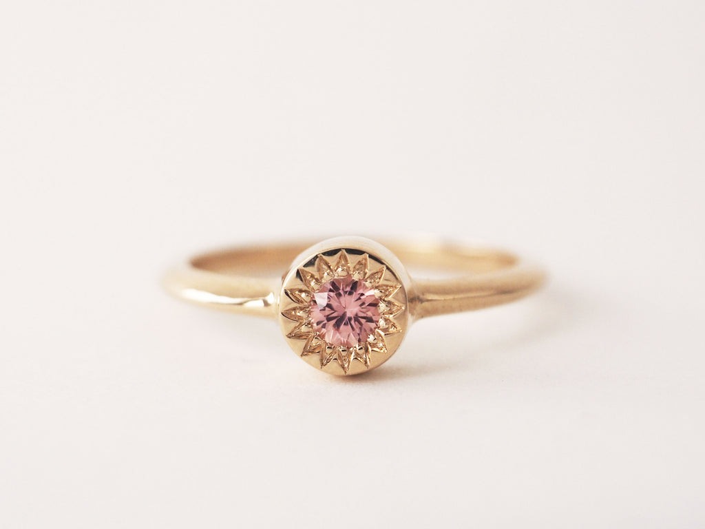 Peach Sapphire Starlight Solitaire *READY TO SHIP*