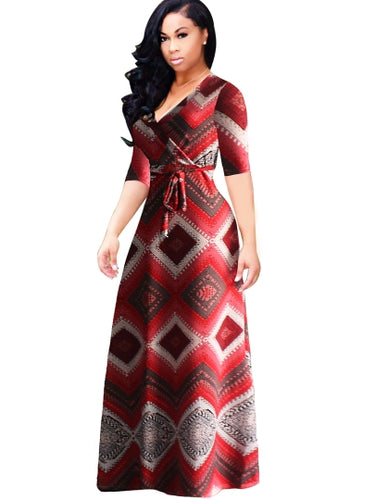 Plaid Bohemian Plus-Size Maxi Dress