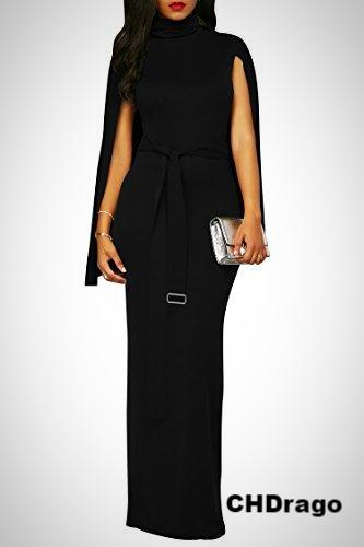 Long Black Turtleneck Cloak Dress with Belt