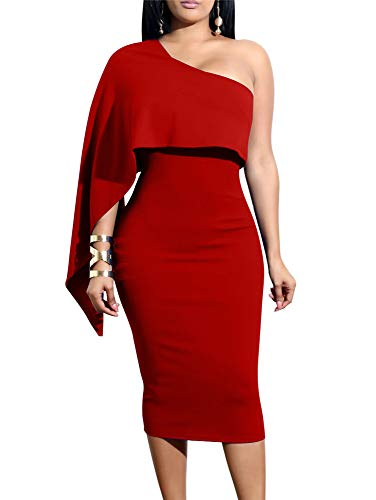 Red One Shoulder Ruffle Cocktail Dress
