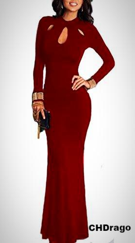 Hollow Out Bodycon Maxi Dress-Wine Red