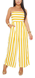 Yellow Striped Palazzo Jumpsuits with Pockets