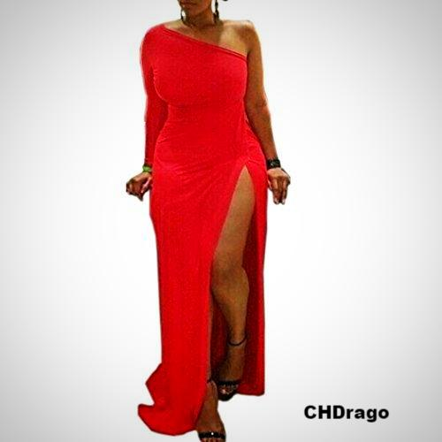Plus Size One Shoulder High Slit Maxi Dress