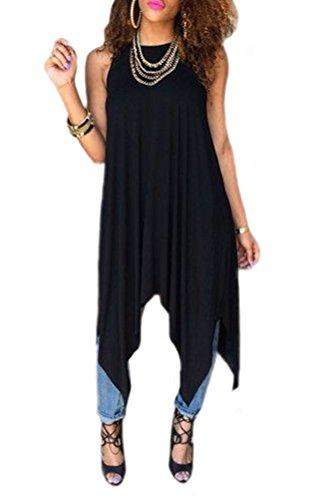 Black Sleeveless Round Neck Asymmetrical Hem Dress