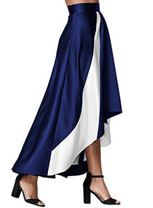 High Waist A-Line Pleated Maxi Skirt-Blue