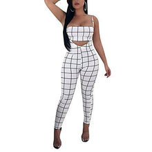 Checkered High Waist Slim Fit 2 Piece Jumpsuit-White
