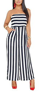 Black Striped Palazzo Jumpsuits with Pockets