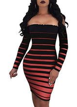 Off Shoulder Striped Bodycon Mini Dress-Black Red
