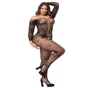 6755cbae2 Black Plus Size Fishnet Crotchless Bodysuit With Sleeves – CHDrago
