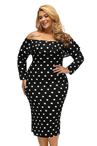 Vintage Polka Dot Ruffle Off The Shoulder Plus Size Dress