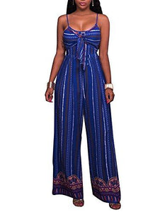 Blue Tie Front Spaghetti Strap Jumpsuit