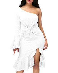 White One Shoulder Bell Sleeve Dress