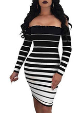 Off Shoulder Striped Bodycon Mini Dress-Black White