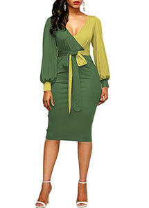 Lantern Sleeve Cocktail Bodycon Dress-Light Green
