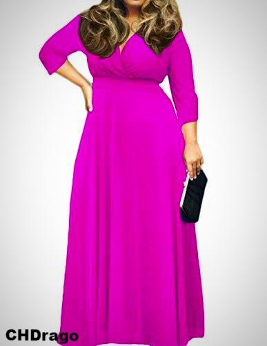 Rose Red V-Neck 3/4 Sleeve Plus Size Maxi Dress