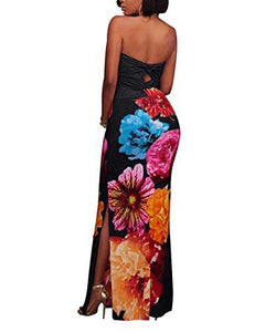 Flowered High Split Strapless Maxi Dress-Black