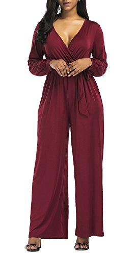 Burgundy V Neck Long Sleeve Wide Leg Jumpsuit With Belt